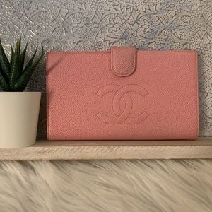 Gorgeous Chanel Wallet In Pebbled Pink Leather